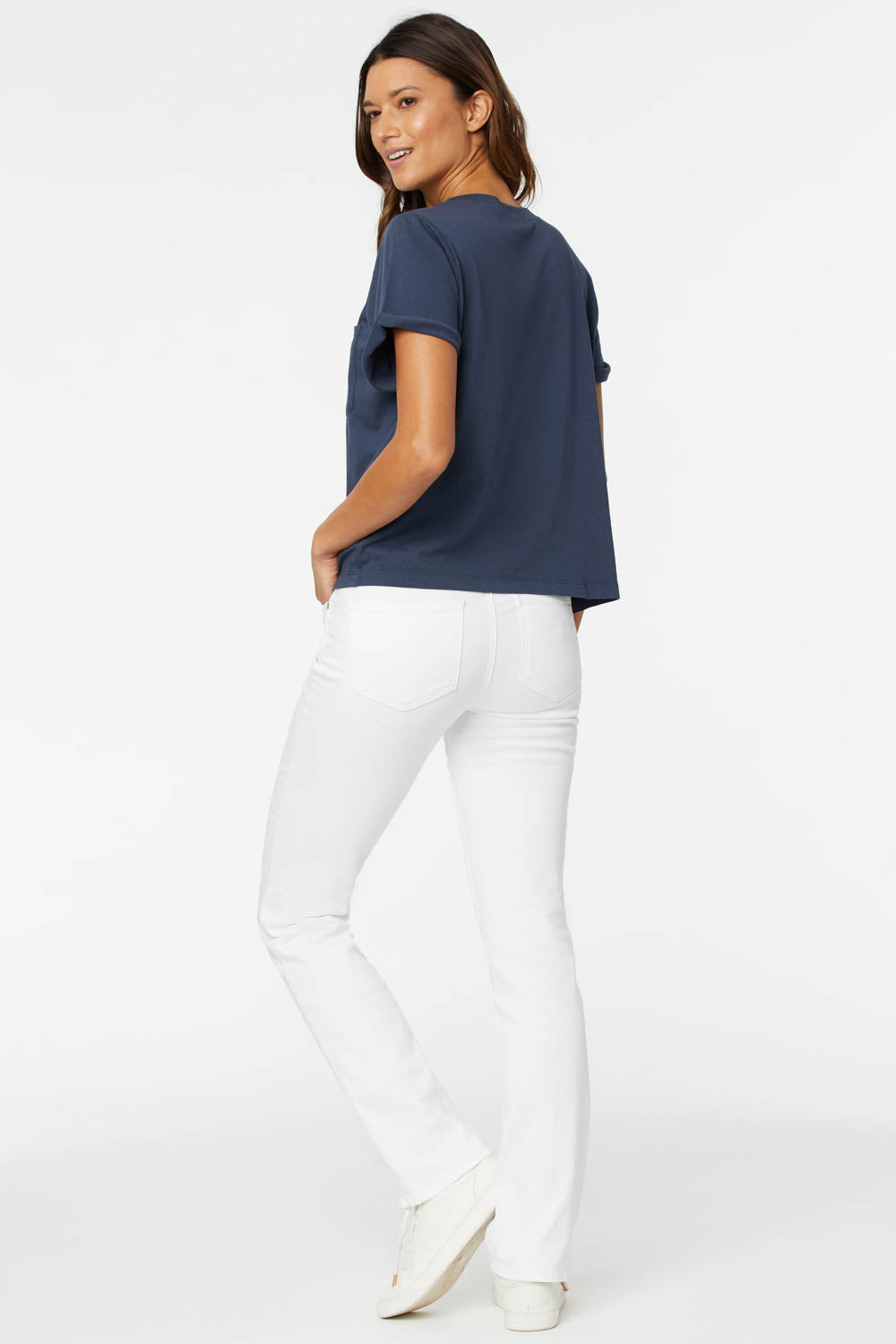 Cuffed Crewneck Pocket Tee - Oxford Navy