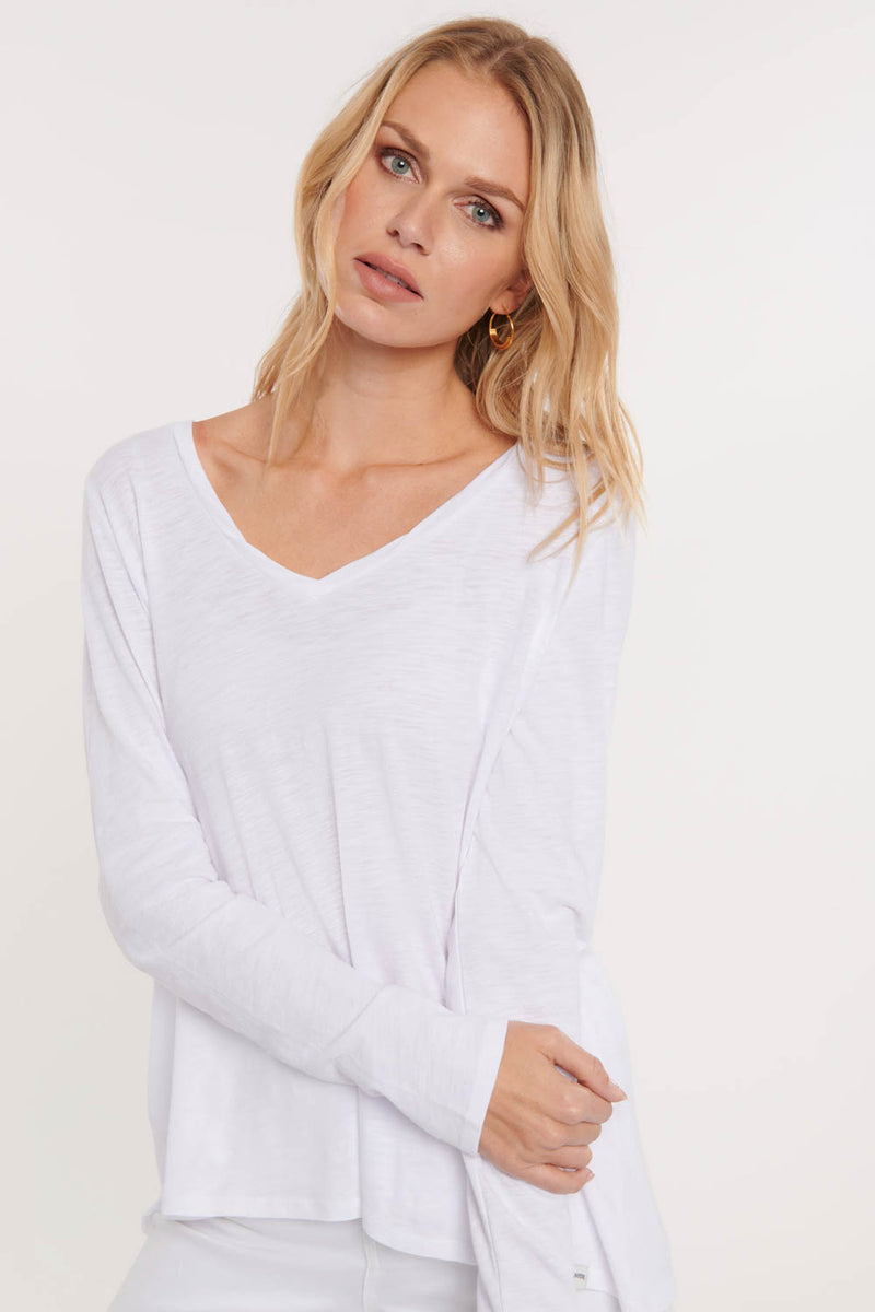 Long Sleeved Twist V-Neck Tee - Optic White