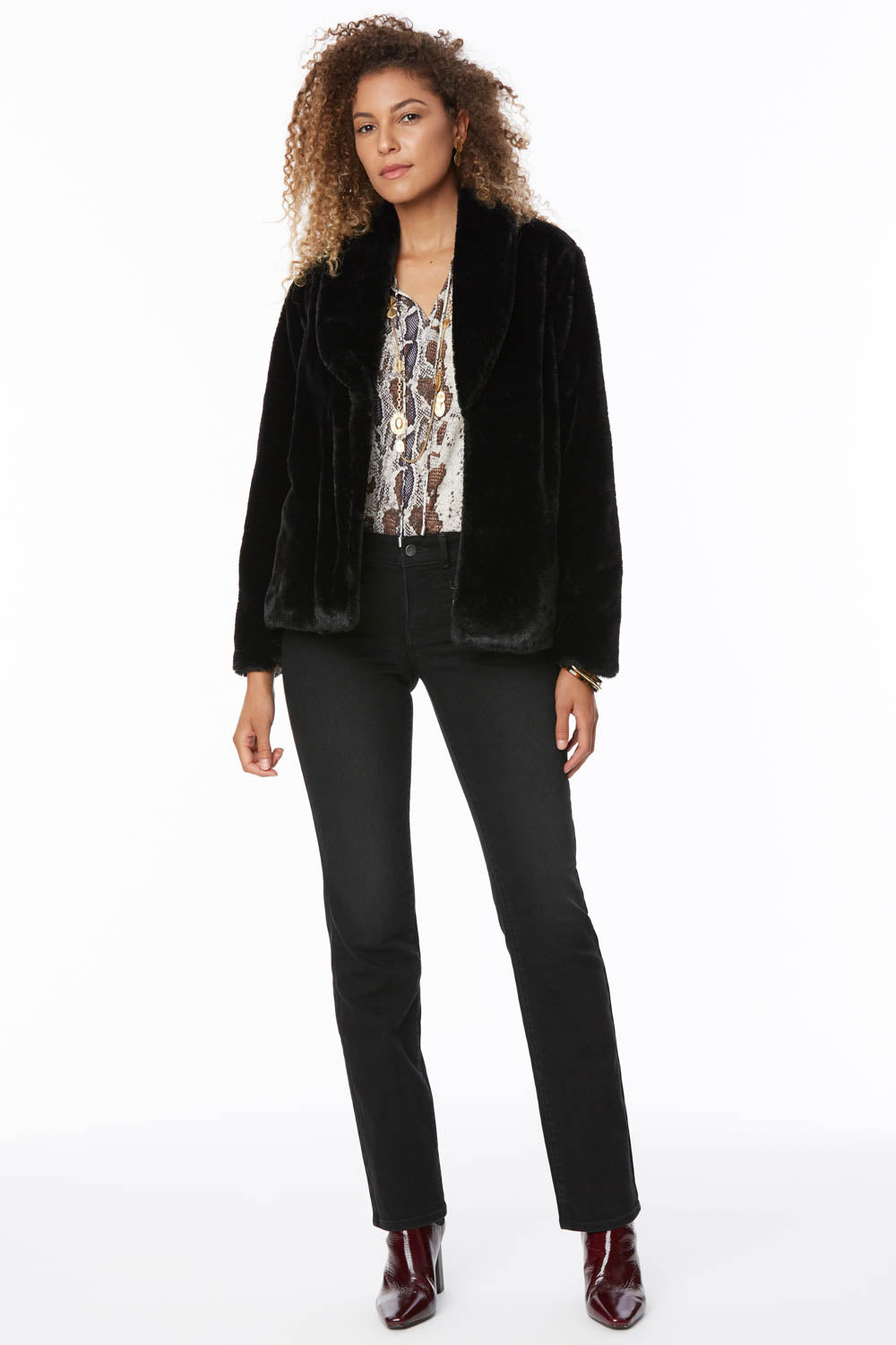 Faux Fur Jacket - JET BLACK