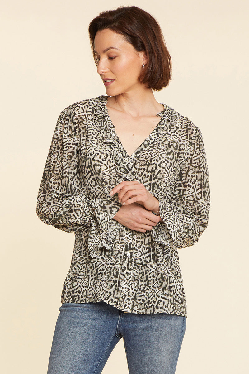 Ruffled Silk Blouse - SERENITY CAT