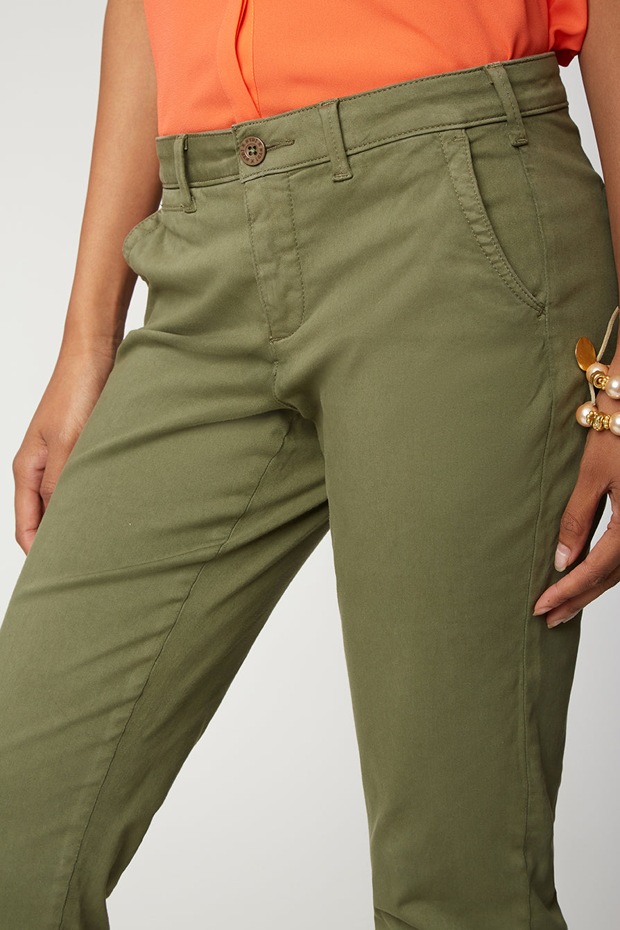 Skinny Ankle Chino Pants - OLIVE