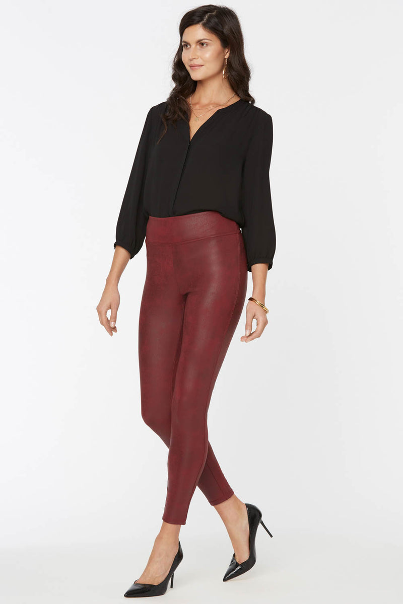 Coated Legging Pants - BURGUNDY