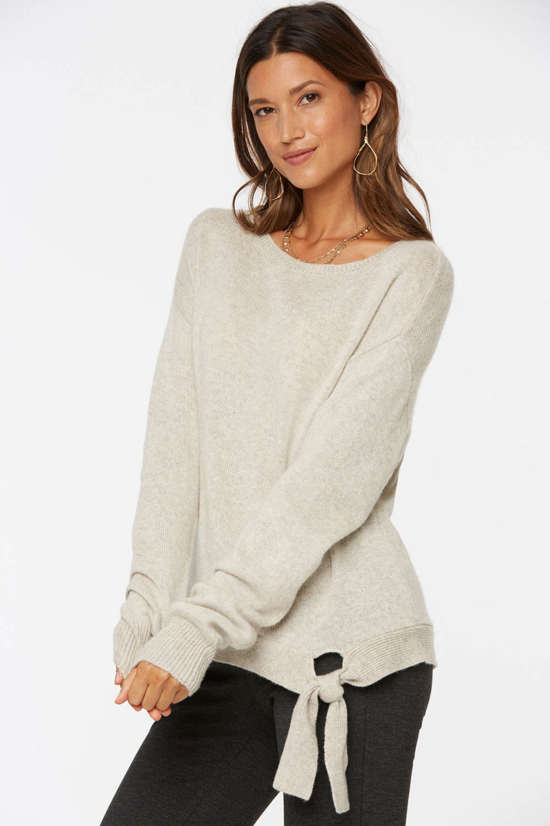 Tie Front Sweater - OATMEAL