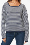 Striped Boatneck Sweater - EVENING TIDE