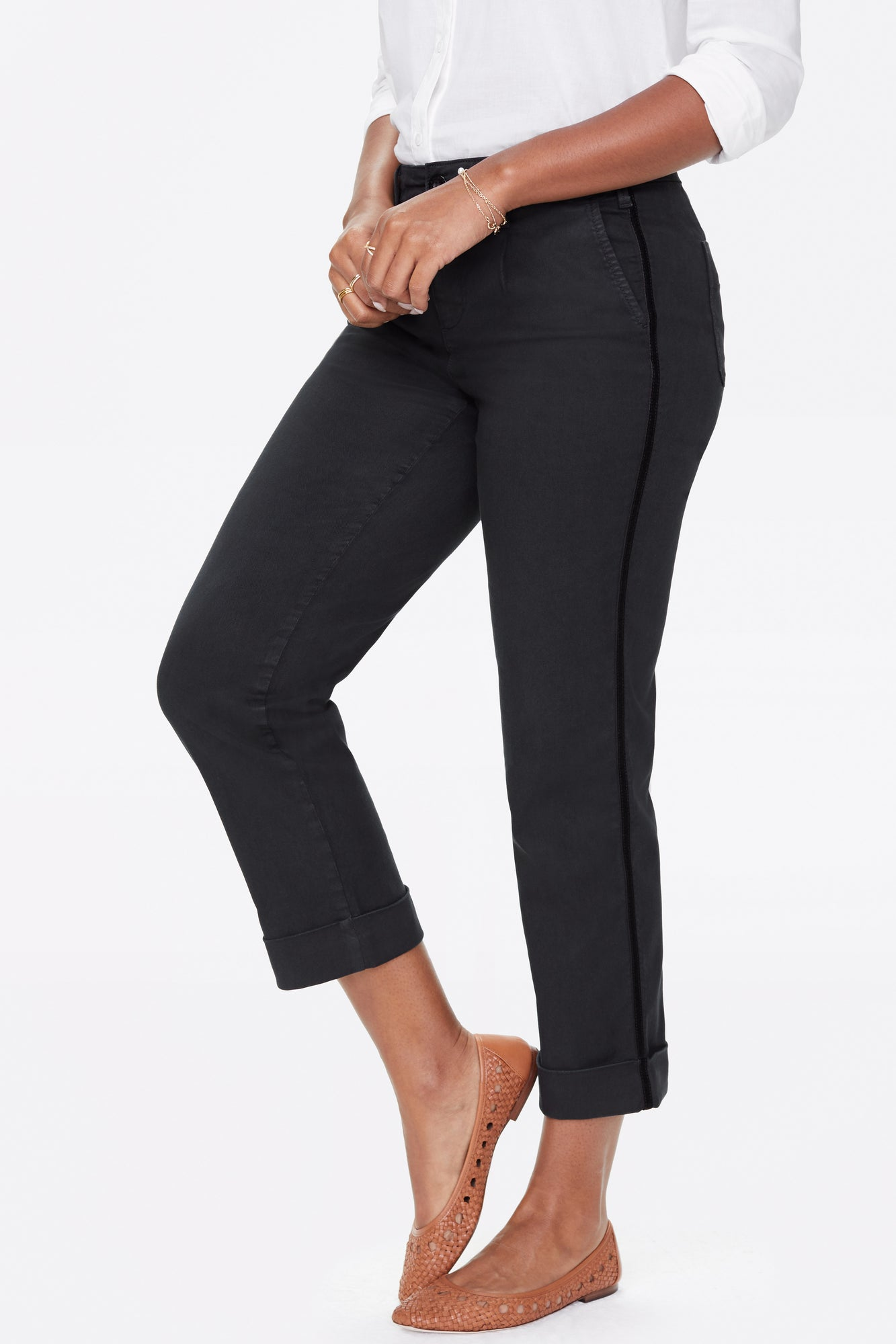Straight Ankle Chino Pants - BLACK