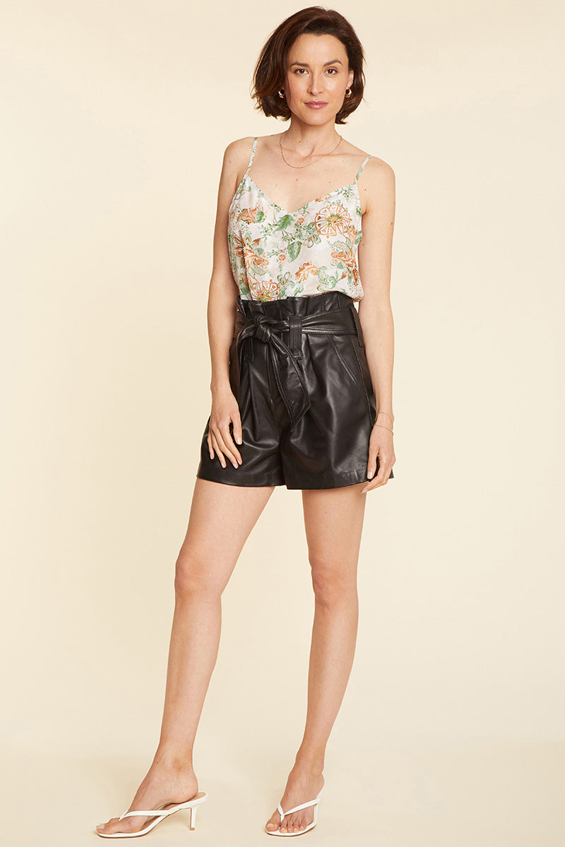 Leather Paper Bag Shorts - Black