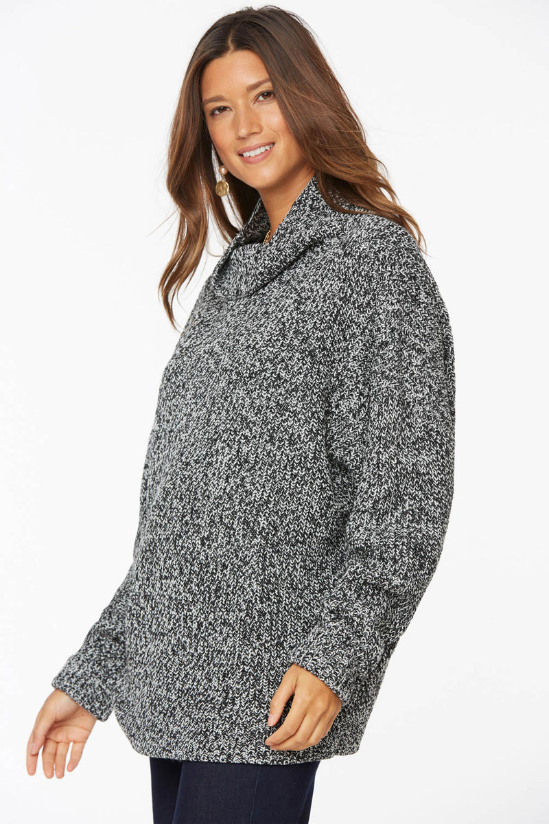 Chunky Turtleneck Sweater - BLACK MARLED