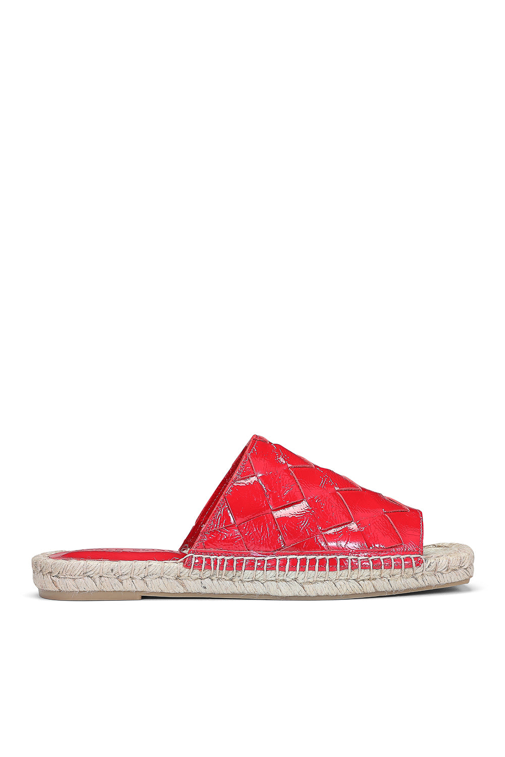 Nyce Soft Patent Espadrille Slide - Fire