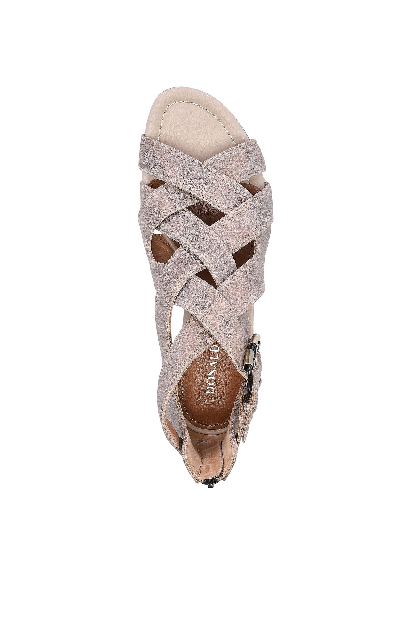 Valencia Tumbled Metallic Brush off Sandal - Light Bronze