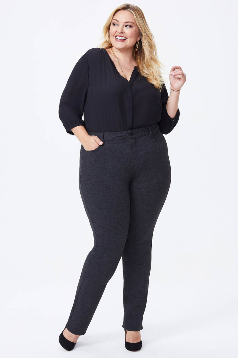 Marilyn Straight Pants In Plus Size - CHARCOAL HEATHERED