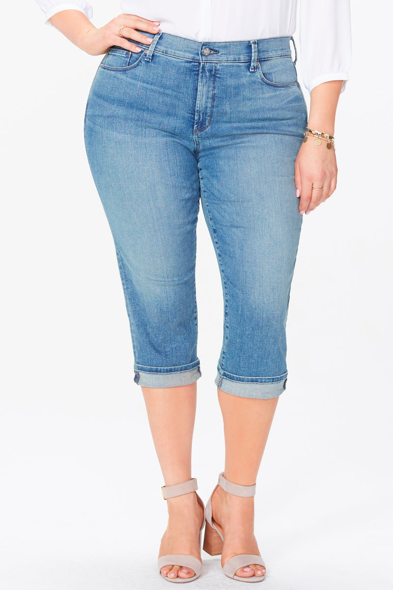 Marilyn Straight Crop Jeans In Plus Size - PACIFIC