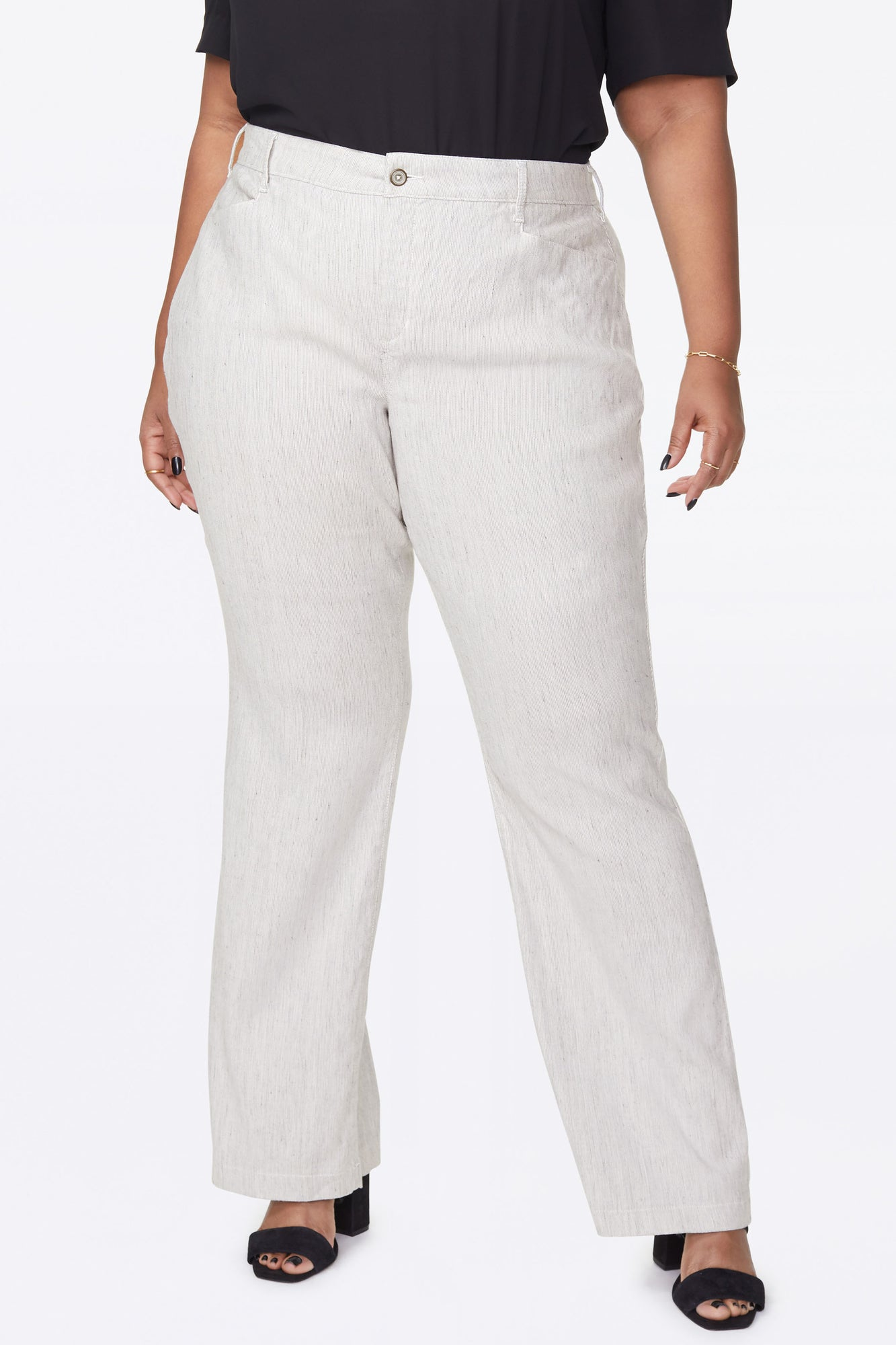 Trouser Pants In Plus Size - SLUBBY STRIPE