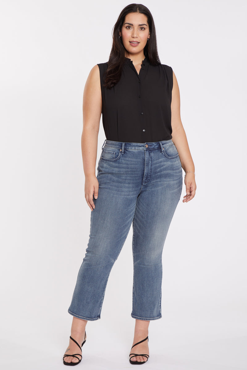 Slim Bootcut Ankle Jeans In Plus Size - Monet Blue
