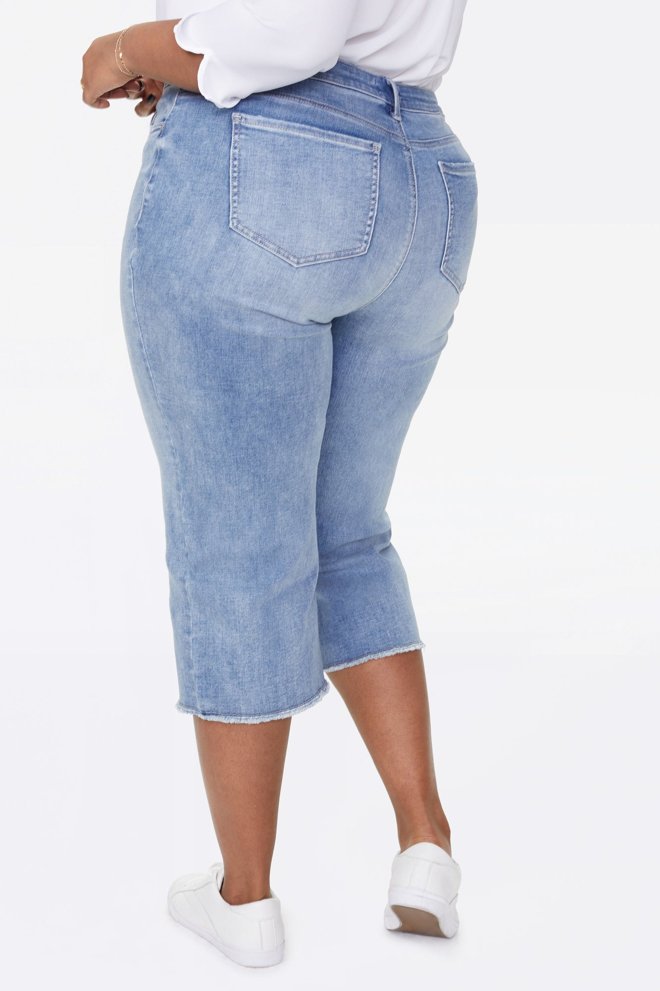 Wide Leg Capri Jeans In Plus Size - COHEED