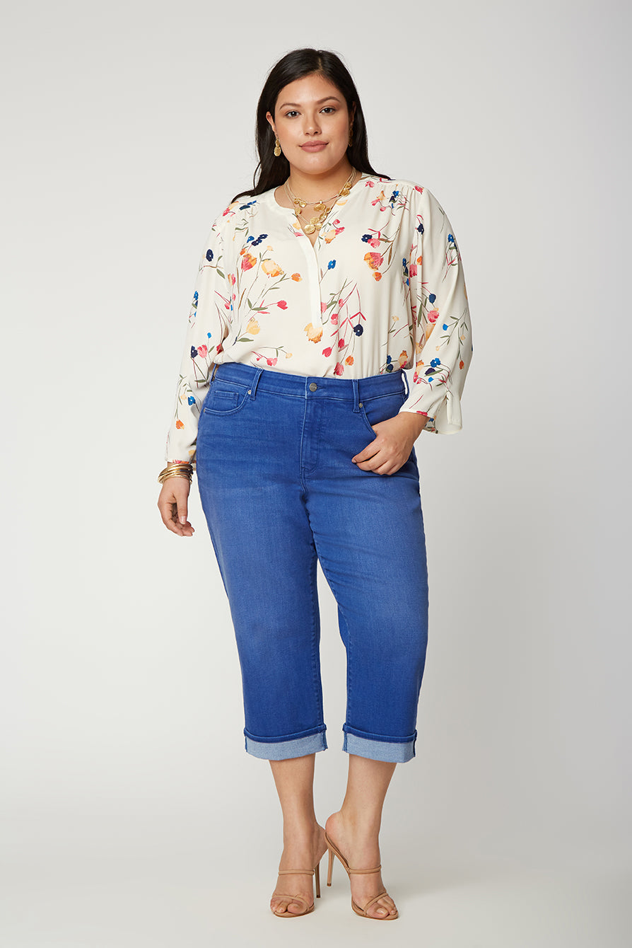 Marilyn Straight Crop Jeans In Plus Size - MORENA