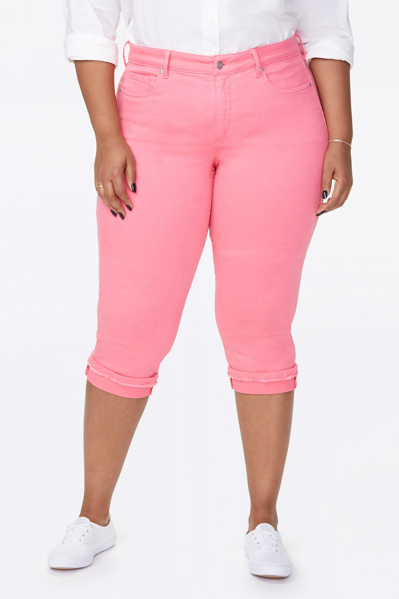 Marilyn Straight Crop Jeans In Plus Size - PINK FLAMINGO