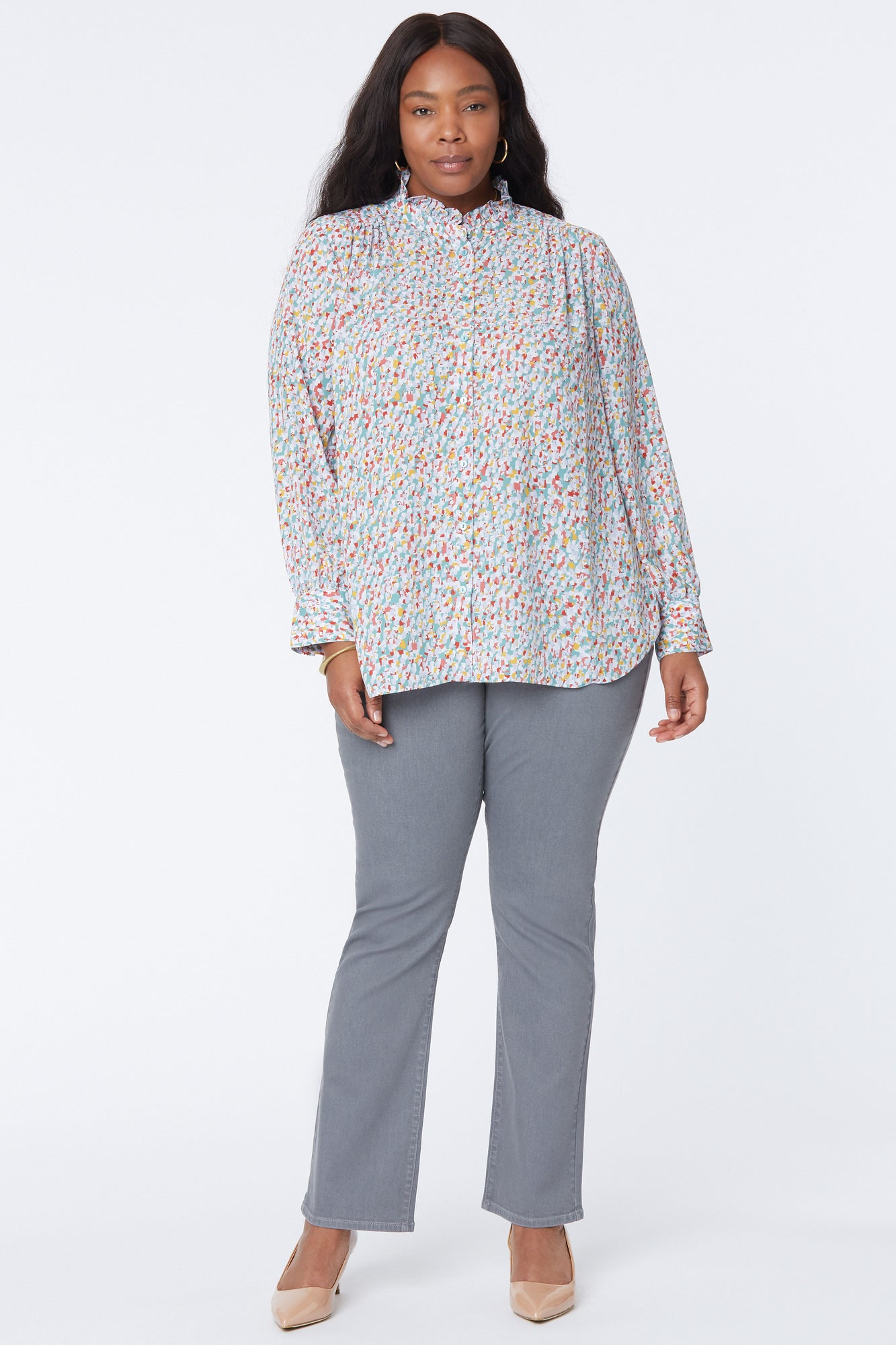 Ruffle Neck Blouse In Plus Size - CANYON GEO