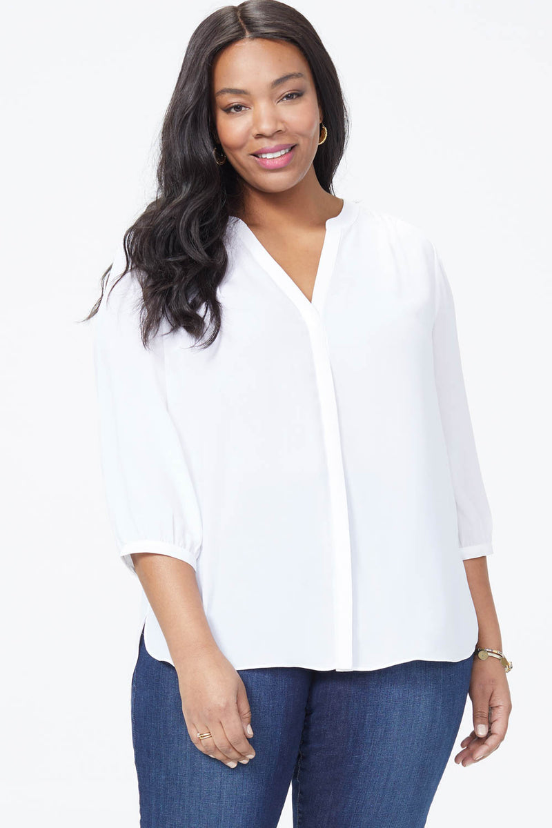 Pintuck Blouse In Plus Size - OPTIC WHITE