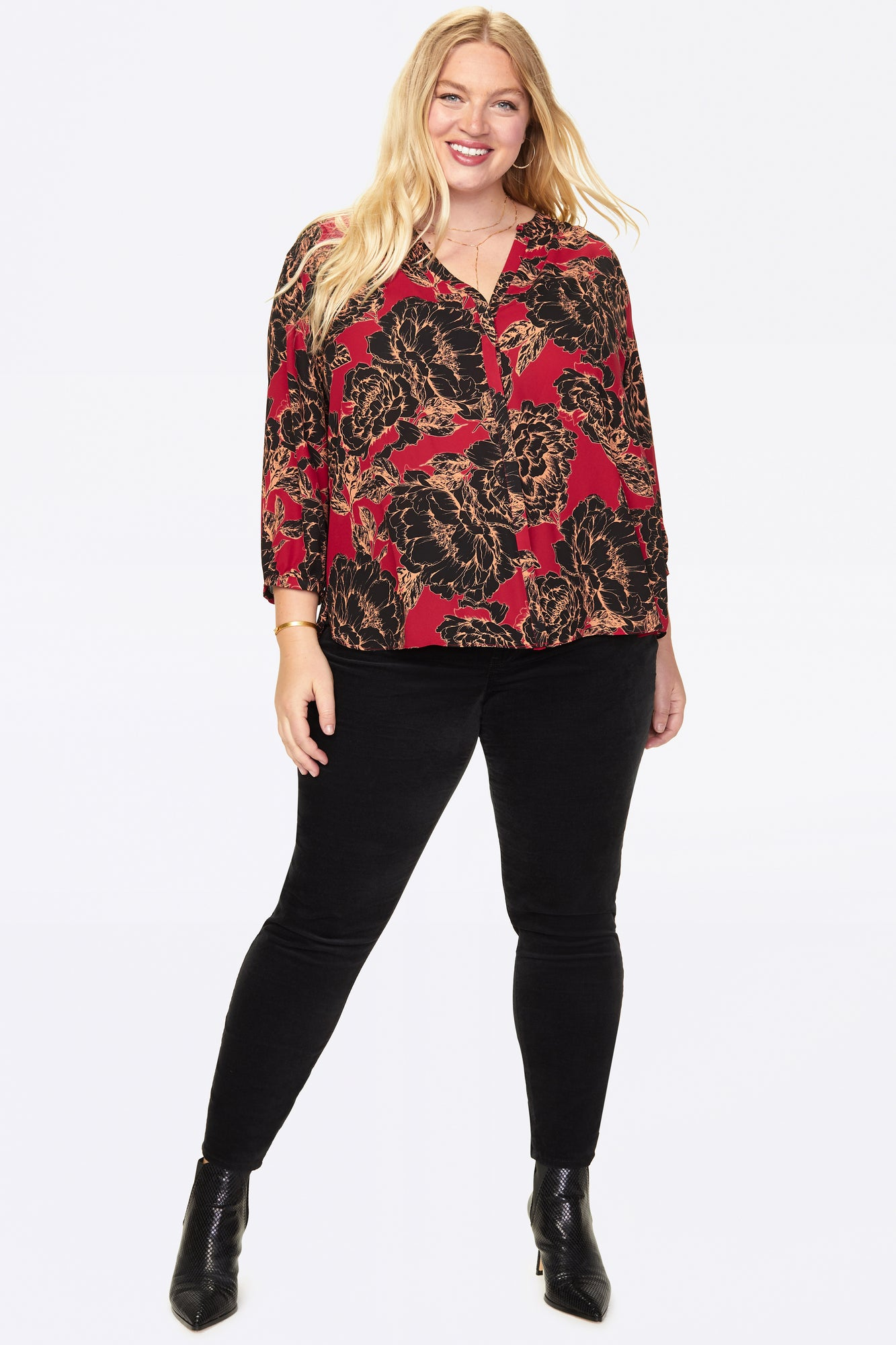 Pintuck Blouse In Plus Size - AVALON BLOOM