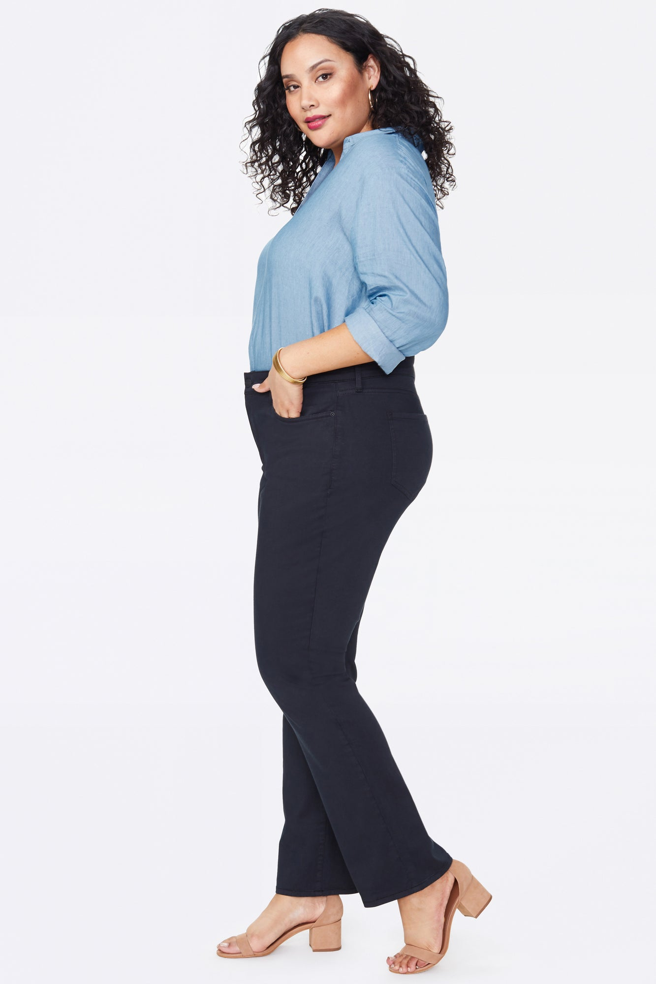 Marilyn Straight Pants In Plus Size - BLACK