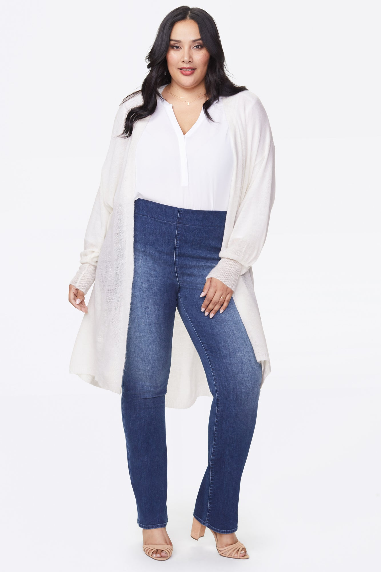 Featherweight Cardigan Sweater In Plus Size - VANILLA