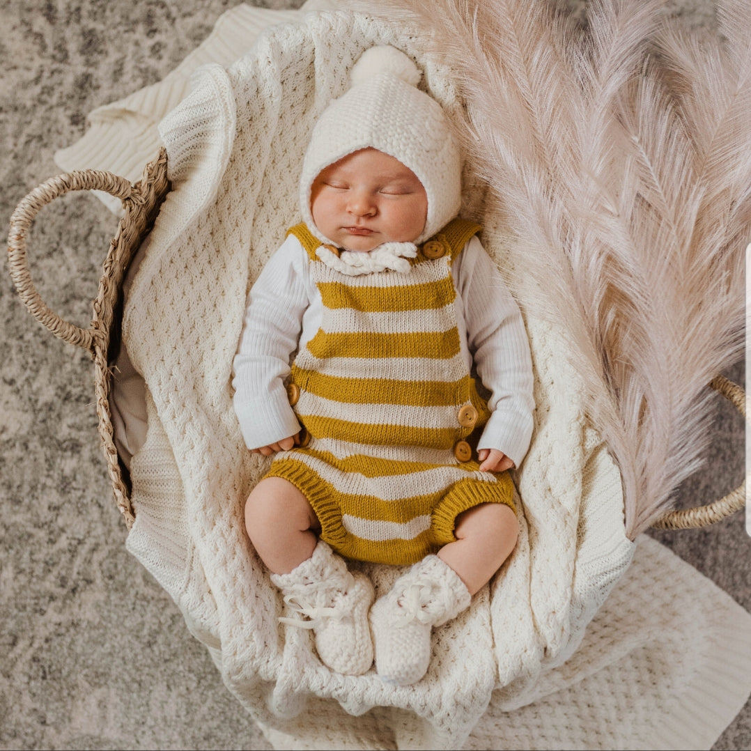 Merino wool booties & bonnet set - Ivory