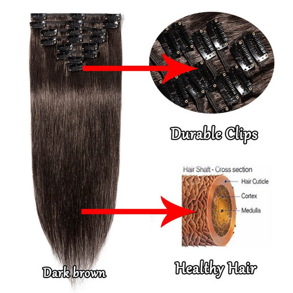 100% Real Human Hair Extension 8pcs per set full head hair extension can be restyled