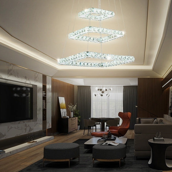 Modern 3 Squares Crystal LED Chandelier Pendant Lights