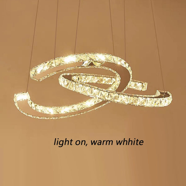 Modern 2 Rings C-shaped Led Pendant Light