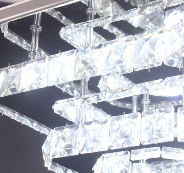 Modern Decorative 2 Square Rings Crystal Ceiling Light