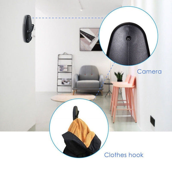 Spy Camera Motion Detection Hidden Clothes Hook DVR Nanny Babysitting Video Cam