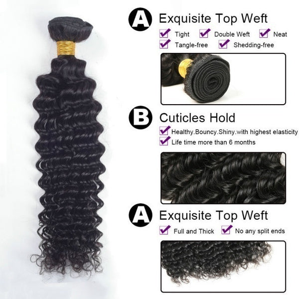 3 Bundles Brazilian Hair Weave Bundles Water Deep Wave Human Hair Long 8-30 Inch Curly Double Drawn