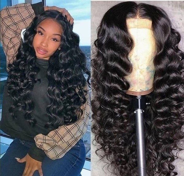 NEW 64cm Lace Front Closure Wigs Loose Deep Wave Brazilian Remy Human Hair Wigs High Density for Black Women
