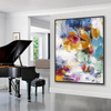 Oversize Vertical Framed Soft Tones Modern Wall Art Oil Painting