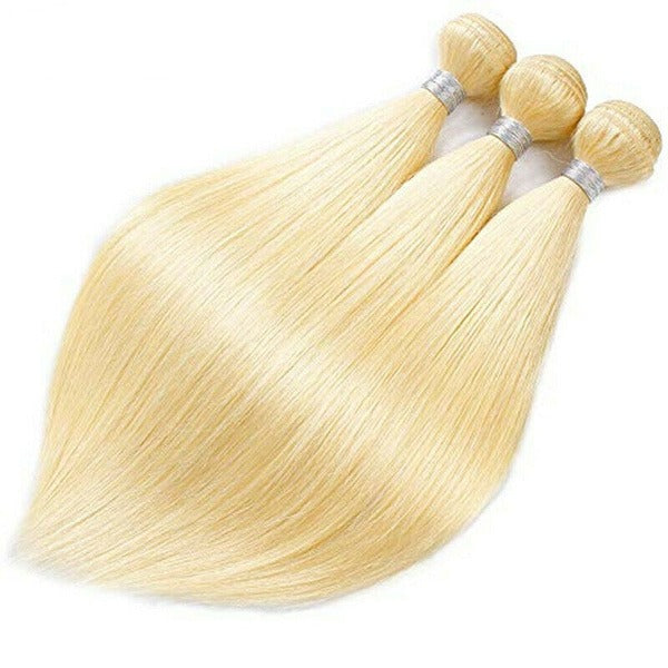 Gorgeous&Fashion One Bundle Blonde#613 Straight 8-24Inch Wigs 100% Remy Brazilian Human Hair Extension For Women Girls 50G/Bundle