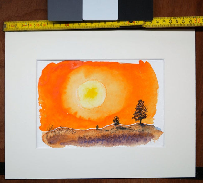 Watercolor Original sunset spontaneous painting
