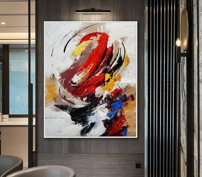 Oversize Hand Painted Acrylic Black Red Acrylic Painting