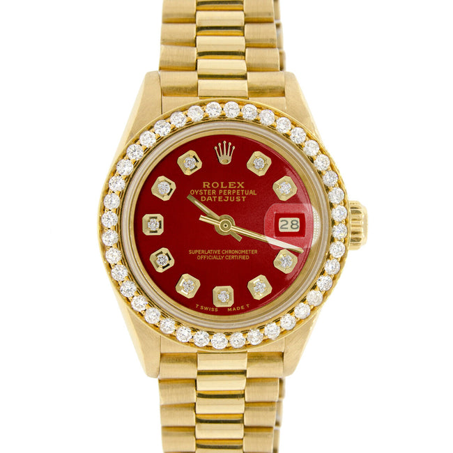 Rolex President Datejust Ladies Gold 26mm w/Imperial Red Dial & Diamond Bezel