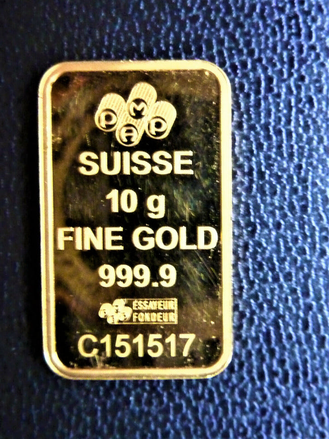 LINGOT 10 Grs OR FIN 999,9 K SUISSE FORTUNA GOLD BAR COIN LINGOTIN GOLDBARRE