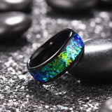 King Will NATURE Mens 8mm Black Ring Inlaid with  Shining Blue-Green Fragments
