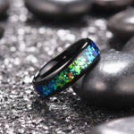 King Will NATURE Mens 6mm Black Ring Inlaid with  Shining Blue-Green Fragments
