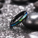 King Will NATURE Mens 4mm Black Ring Inlaid with  Shining Blue-Green Fragments