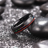king will Nature™ Black Ring Inlaid with Opal & Red Imitated Meteorite & Sticker