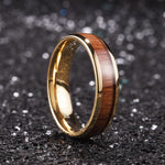 King Will Nature™6mm ROSE GOLD dome Polished Ring Inlaid with KOA wood