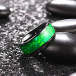 King Will Nature™8mm Black Polished Ring Inlaid with Green Opal Sticker