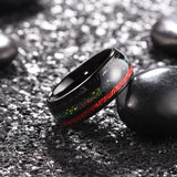 king will Nature™ 8MM Black Ring Inlaid with Opal & Red Imitated Meteorite & Sticker