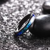 King Will NATURE Mens 4mm Black Ring Inlaid with  Shining Blue-Purple Fragments