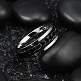 King Will INTERTWINE™ 8mm center black chain spinner ring
