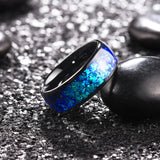 King Will NATURE™  Mens 8mm Black Ring Inlaid with  Shining Blue-Purple Fragments