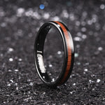 King Will Nature™4mm black dome Polished Ring Inlaid with KOA wood